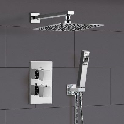 Temelis 2 Dial 2 Way Thermostatic Shower Mixer with Brass Head + Handset