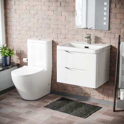 Lyndon 600mm Wall Hung Vanity Unit & Curved Close Coupled Toilet White
