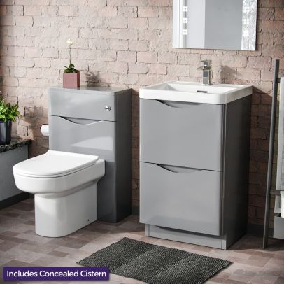 Lyndon 500mm 2 Drawer Vanity Cabinet with Basin and WC Toilet Unit Combination Light Grey