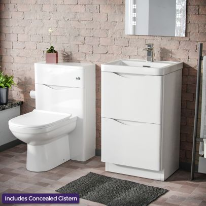 Eliko Modern 500 2 Drawer Vanity Cabinet with Basin + WC Toilet Unit Combination White