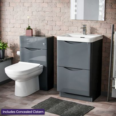 Eliko Modern 500 2 Drawer Vanity Cabinet with Basin + WC Toilet Unit Combination Grey