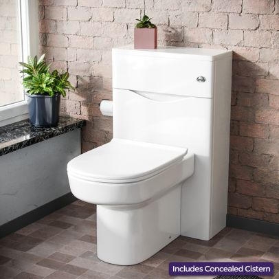 Lyndon Modern 500 WC Unit and BTW Back To Wall Toilet Pan Soft Close Seat White