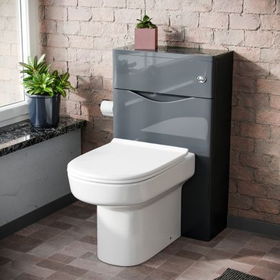 Lyndon Modern 500 WC Unit and BTW Back To Wall Toilet Pan Soft Close Seat Grey