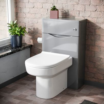 Lyndon Modern 500mm WC Unit and BTW Back To Wall Toilet Pan Soft Close Seat Light Grey