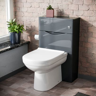Lyndon Modern Back To Wall Toilet Pan and WC Unit Soft Close Seat Grey