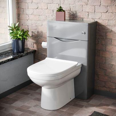 Lyndon Modern Back To Wall Toilet Pan and WC Unit Soft Close Seat Light Grey