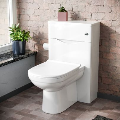 Eliko Modern Back To Wall Toilet Pan and WC Unit Soft Close Seat White