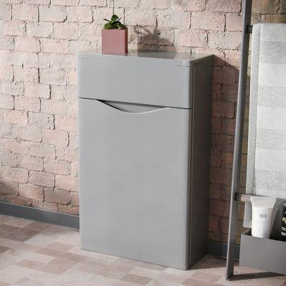 Lyndon Modern Back To Wall WC Unit BTW Bathroom Furniture Light Grey
