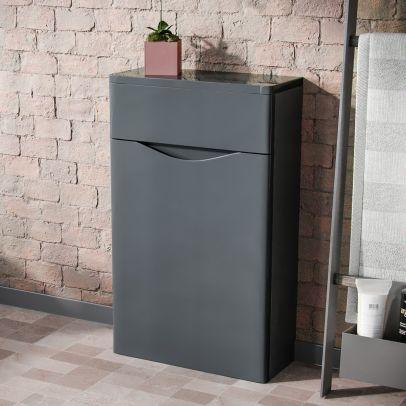 Lyndon Modern Back To Wall WC Unit BTW Bathroom Furniture Grey