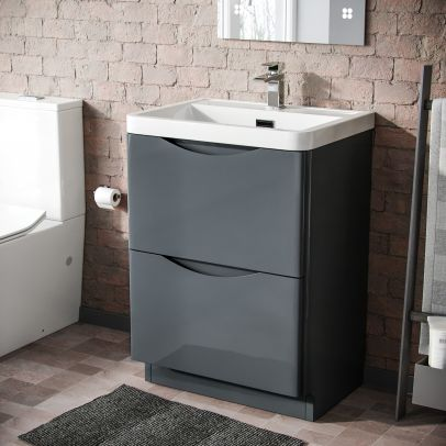 Lyndon 600mm Freestanding  Basin Vanity Unit Dark Grey