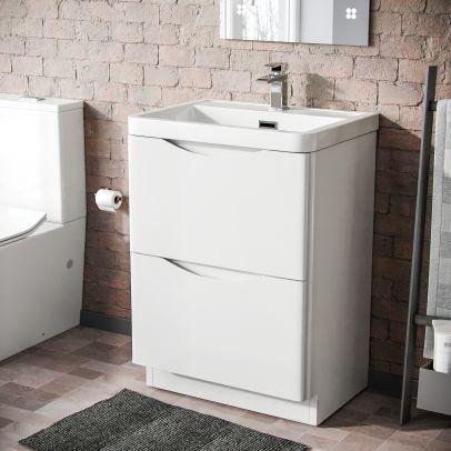 Lyndon 600mm Freestanding Bathroom White Gloss Vanity Unit Resin Basin Furniture