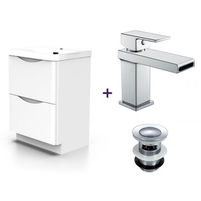 Lyndon White Basin Vanity Unit and Tap Set with Free Waste
