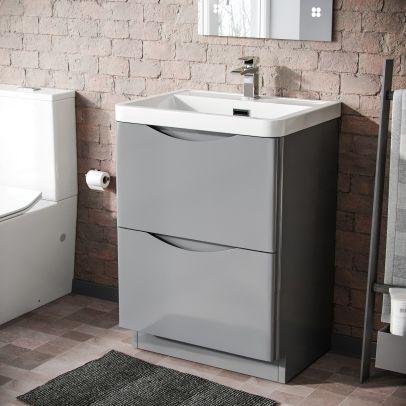 Lyndon 600mm Bathroom Basin Freestanding Vanity Unit  Light Grey