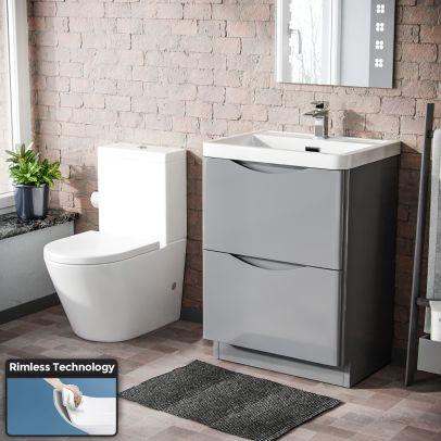 Lyndon Modern Light Grey Basin Vanity and WC Close Coupled Toilet