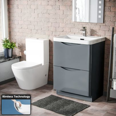 Lyndon Modern 600 mm Grey Basin Sink Vanity and Close Coupled Toilet