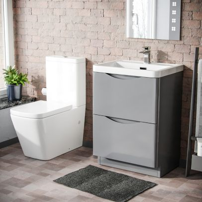 Lyndon 600mm Freestanding Vanity Basin Unit & Square Rimless Close Coupled Toilet Light Grey