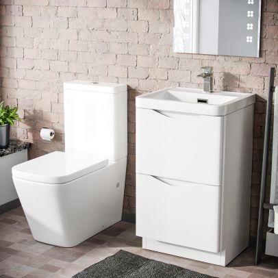 Lyndon 500mm Freestanding Vanity Basin Unit & Square Rimless Close Coupled Toilet White