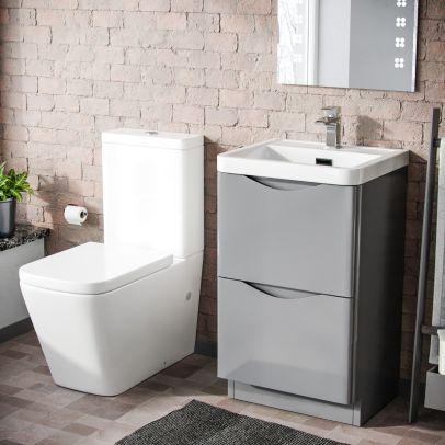 Lyndon 500mm Freestanding Vanity Basin Unit & Square Rimless Close Coupled Toilet Light Grey