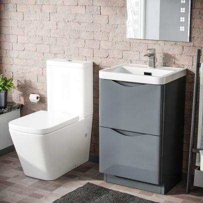 Lyndon 500mm Freestanding Vanity Basin Unit & Square Rimless Close Coupled Toilet Grey
