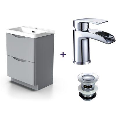 Lyndon Light Grey Basin Vanity Unit Tap with Waste Set