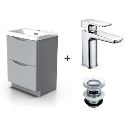Lyndon Light Grey Vanity Cabinet and Basin Mixer Tap with Waste Set