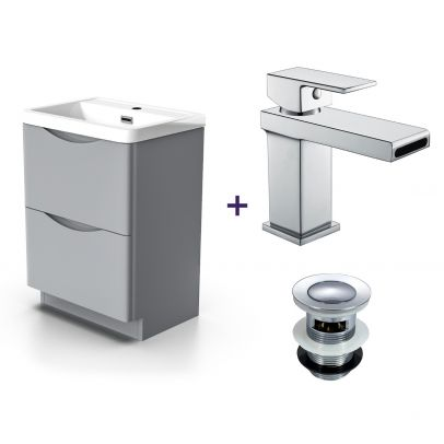 Lyndon Light Grey Vanity Unit with Basin Tap & Waste Set