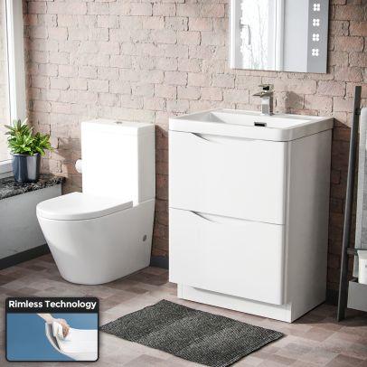 Lyndon 600mm Basin Vanity Unit & Close Coupled Toilet White
