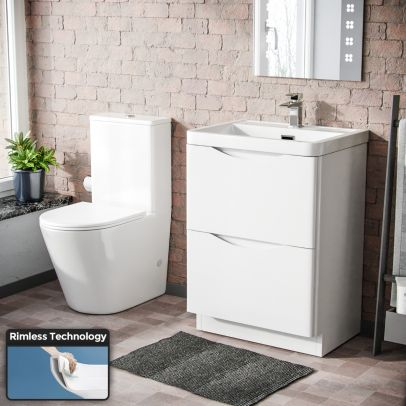 Modern White Basin Sink Vanity And Rimless WC Toilet Pan