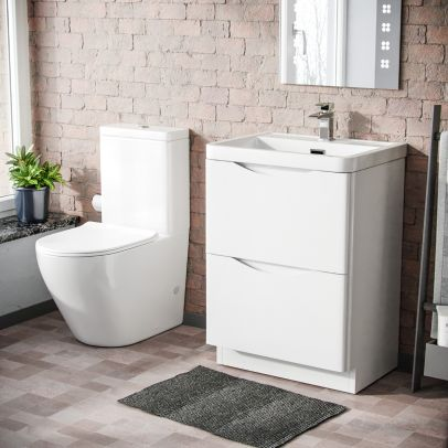Modern White Basin Sink Vanity And Rimless WC Close Coupled Toilet