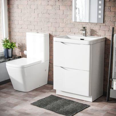 Risley 600mm Freestanding Vanity Basin Unit & Square Rimless Close Coupled Toilet White Gloss