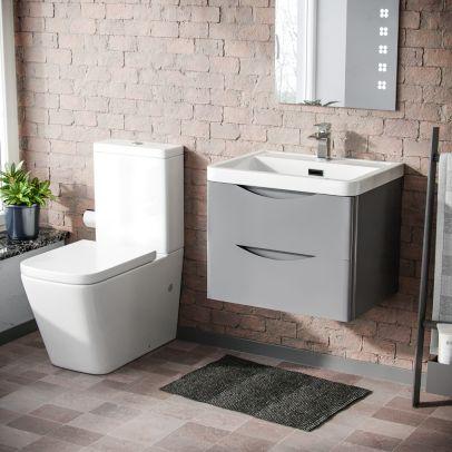 Risley 600mm Wall Hung Vanity Basin Unit & Square Rimless Close Coupled Toilet Light Grey