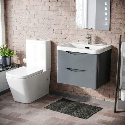 Lyndon 600mm Wall Hung Vanity Basin Unit & Square Rimless Close Coupled Toilet Grey