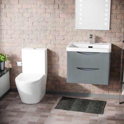 Lyndon Modern Grey Basin Vanity Wall Hung and Close Coupled Toilet