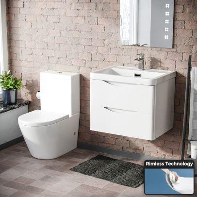 Lyndon Modern White Basin Sink Vanity Wall Hung & Close Coupled Toilet