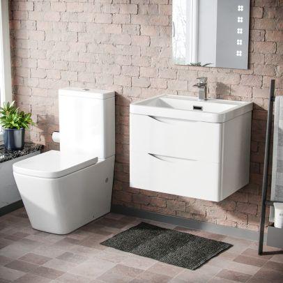 Lyndon 600mm Wall Hung Vanity Basin Unit & Square Rimless Close Coupled Toilet White Gloss