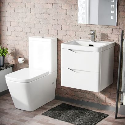 Lyndon 500mm Wall Hung Vanity Basin Unit & Square Rimless Close Coupled Toilet White Gloss