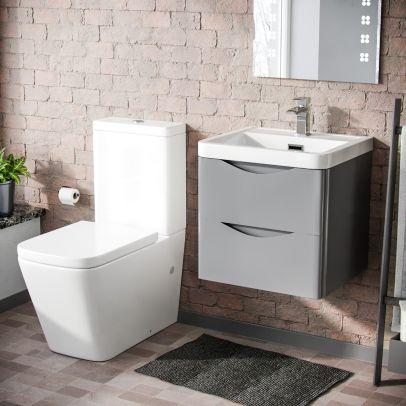 Lyndon 500mm Wall Hung Vanity Basin Unit & Square Rimless Close Coupled Toilet Light Grey