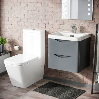 Lydon 500mm Wall Hung Vanity Basin Unit & Square Rimless Close Coupled Toilet Grey