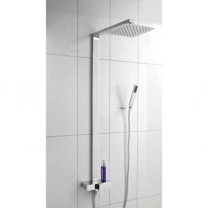 PURINA ULTRA THIN MODERN BATHROOM SQUARE HEAD COOL TOUCH SHOWER