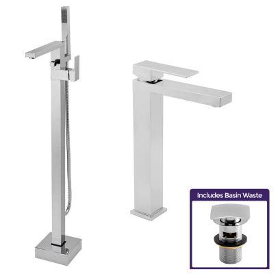 Eoro Cube Freestanding Bath Shower Mixer Tap, Tall Basin Mono Mixer & Waste Chrome