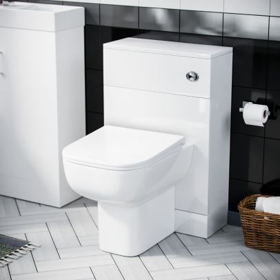 Debra Back To Wall Toilet Pan & 500 mm WC Unit with Cistern  White