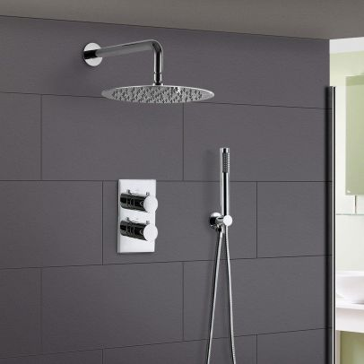 Violet Concealed Round Thermostatic Shower Mixer and Shower Head with Handset Kit