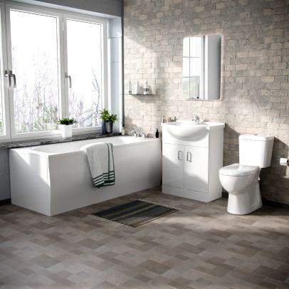 Memphis 3-Piece Bathroom Suite White - Close Coupled Toilet, 650mm Basin Vanity Unit and Round Bath Tub