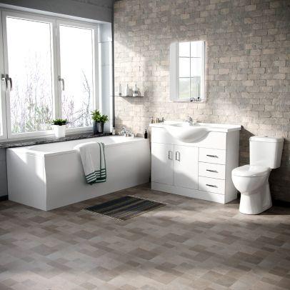 Memphis 3-Piece Bathroom Suite White - Close Coupled Toilet, 1050mm Basin Vanity Unit and Round Bath Tub