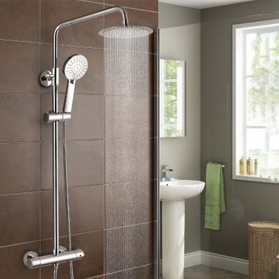 Fawley Round Thermostatic Exposed Twin Head Mixer Shower Set
