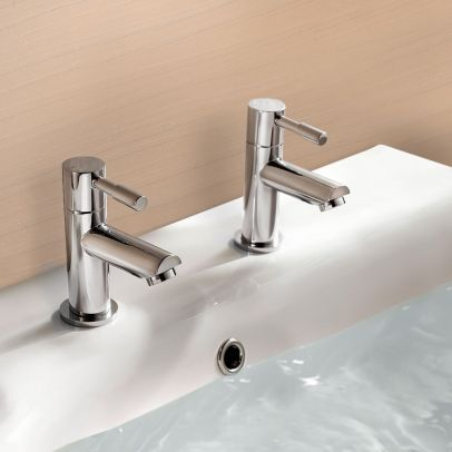 Blossom Bathroom Round Chrome Basin Hot and Cold Tap Pair including a Square Cap Waste