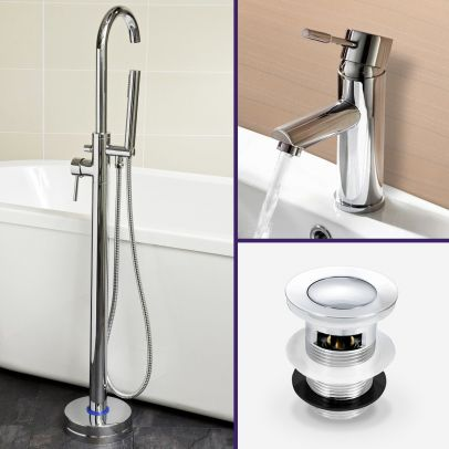 Blossom Bathroom Basin Mixer Faucet Tap and Freestanding Bath Shower Mixer with Click Waste