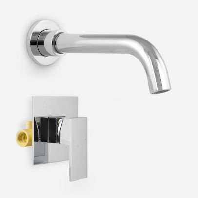 Remy Wall Mounted Basin Sink Mixer Tap & Concealed Valve Mixer Chrome