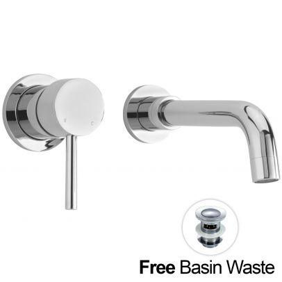 GIO Wall Mounted Bathroom Basin Sink Mixer Tap & Waste