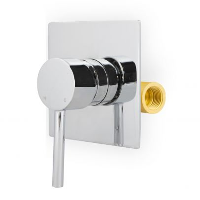 """Elume Wall Mounted Round Manual Concealed Mixer Shut Off Valve 1/2"""" Hot And Cold"""